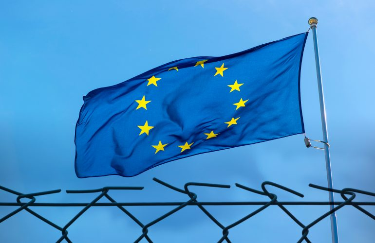 EU flag and fence